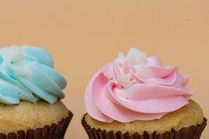 Cream on cupcake