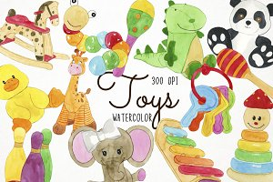 Watercolor Toys Clipart