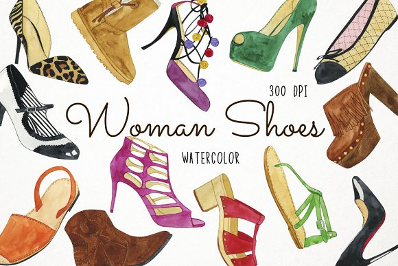 Watercolor Woman Shoes Clipart