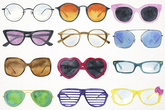 b43a17da76f Watercolor Sunglasses Clipart ~ Illustrations ~ Creative Market