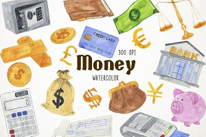 Watercolor Money Clipart