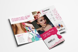 Nail Salon Trifold Brochure Template