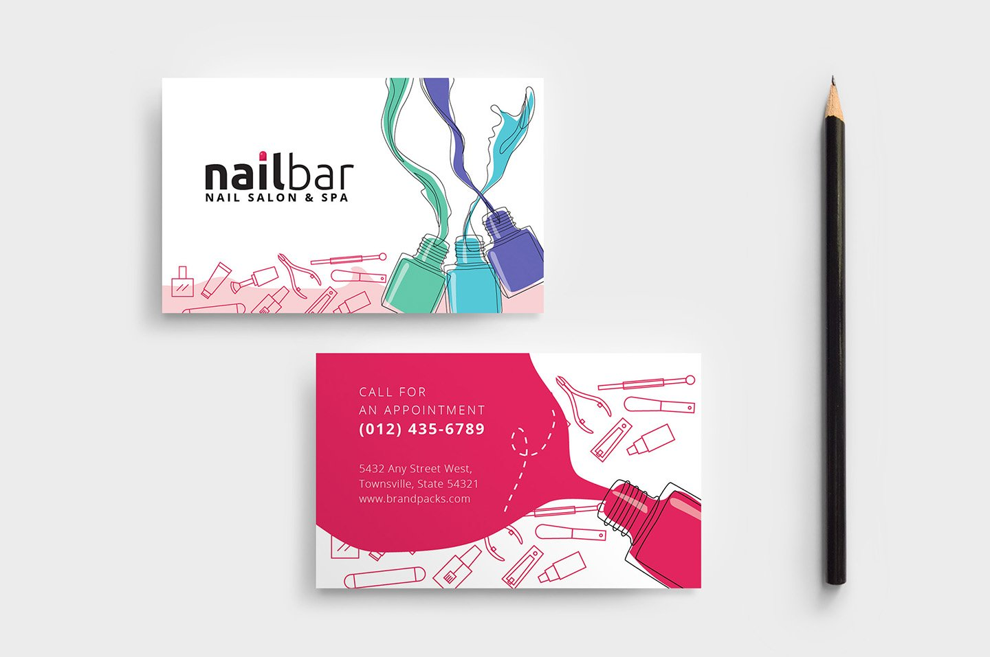 Nail salon business card template business card templates nail salon business card template business card templates creative market accmission Gallery