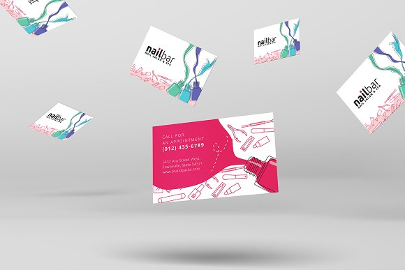Nail salon business card template business card templates nail salon business card template business card templates creative market fbccfo Gallery