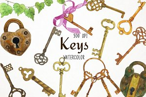 Watercolor Keys Clipart
