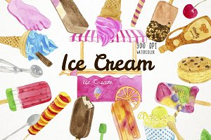 Watercoor Ice Cream Clipart
