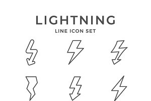Set line icons of lightning