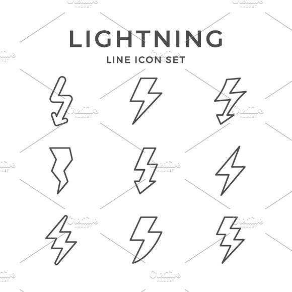 Set Line Icons Of Lightning