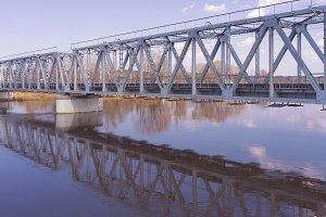 Bridge over the river in spring