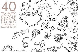 Tea Party Doodle Hand Drawn PNG