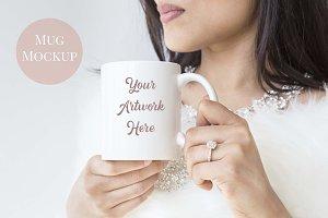 Woman holding mug- white glamourous
