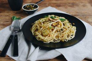 Spaghetti with Fried Zucchini
