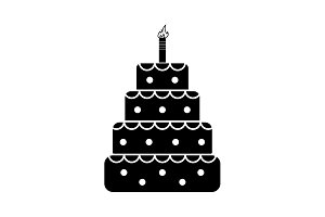 Birthday cake web icon black