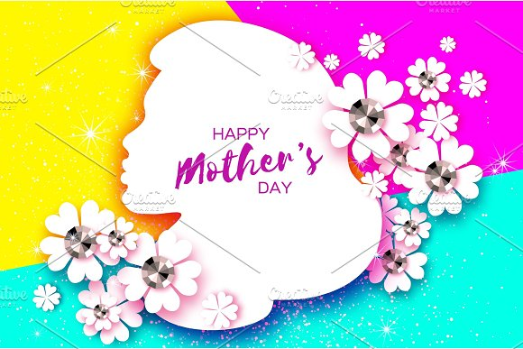 Silhouette Of A Mother In Paper Cut Style Happy Mothers Day Celebration Bright Origami Flowers With Brilliant Stones Spring Blossom On Colorful Space For Text