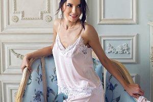 brunette girl in pink lingerie