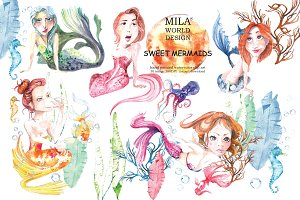 Sweet Mermaids Watercolor Illustrati