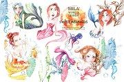 Sweet Mermaids Watercolor Illustrati