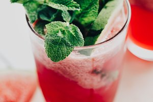 Watermelon lemonade with mint leaves