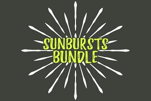 100 Sunbursts Icon. Retro Big Bundle