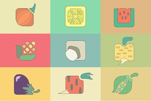 Set stylized vegetables flat icons