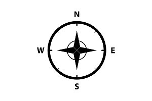 Compass Icon in the flat style.