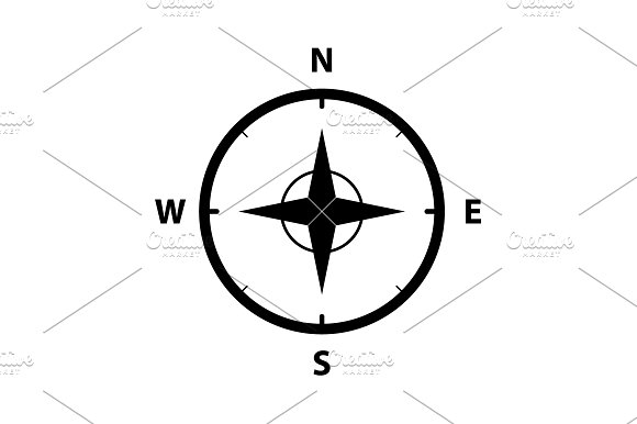 Compass Icon In The Flat Style