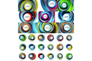 Fresh business waves and swirls design, abstract backgrounds and icons