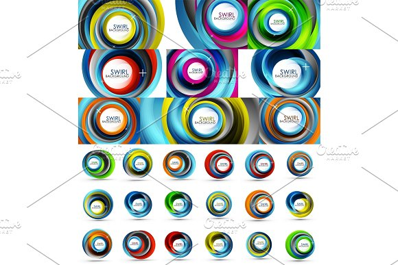 Fresh Business Waves And Swirls Design Abstract Backgrounds And Icons