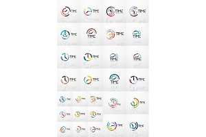 Vector abstract logo idea, time concept or clock business icons. Creative logotype design templates