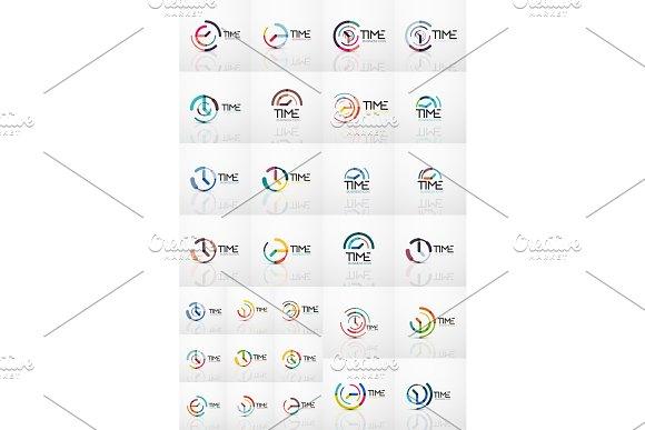 Vector Abstract Logo Idea Time Concept Or Clock Business Icons Creative Logotype Design Templates