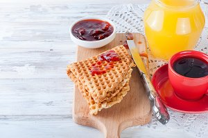 Fresh tasty breakfast with waffles