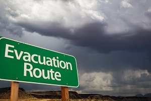 Evacuation Route Green Road Sign