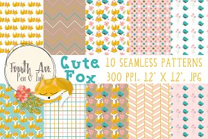 Cute Fox Seamless Patterns