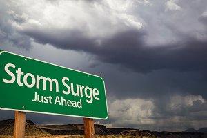 Storm Surge Green Road Sign