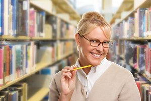 Student or Teacher, Library, Pencil