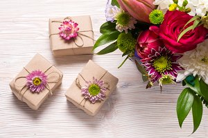 Gift boxes, floral decor