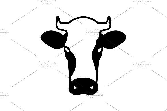 Cow Icon Vector Illustration Black