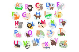 Children ABC with Cute Animals Cartoon Flat Vector
