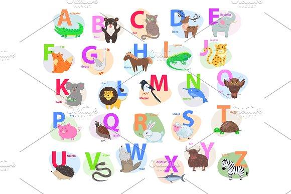Children ABC With Cute Animals Cartoon Flat Vector