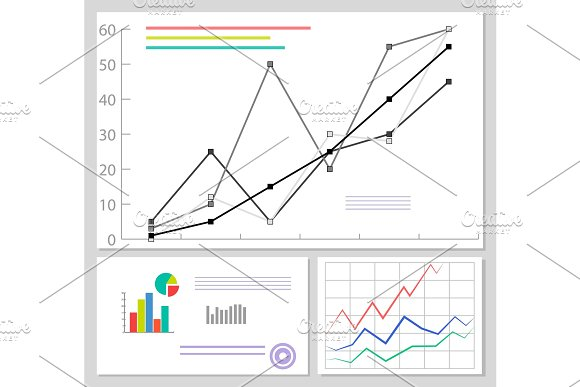 Charts And Graphics Data Set Vector Illustration