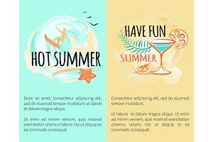Hot Summer Sea Adventures Set of Banners with Text
