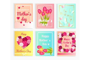 Six Cute Cards with Hearts, Flowers for Mom`s Day