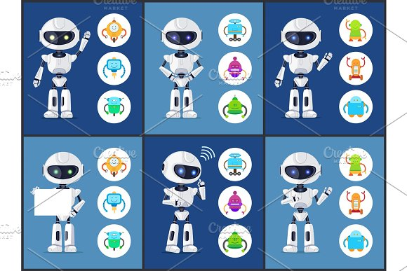 Robots Of Modern Type Set Vector Illustration