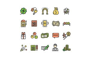 Lotto Signs Thin Line Icon Set.