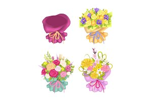 Four Beautiful Packing and Cute Flowers Color Card