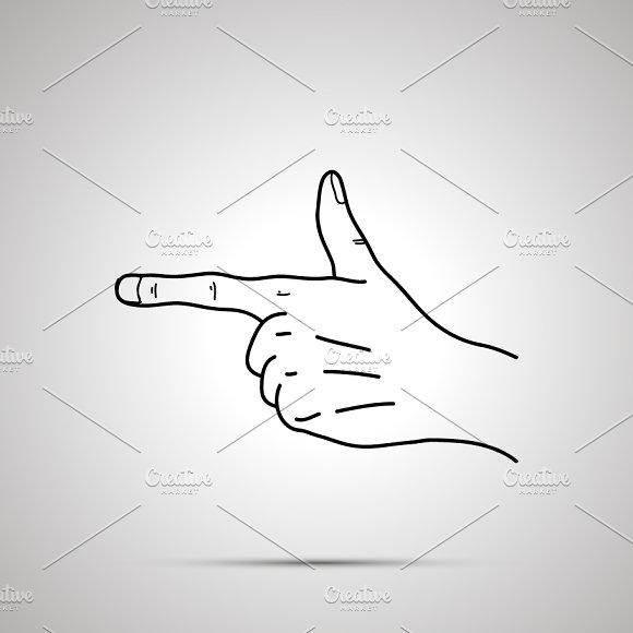 Hand Icon In Pointing Gesture