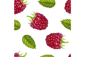 Realistic Ripe Red Raspberry Berry.