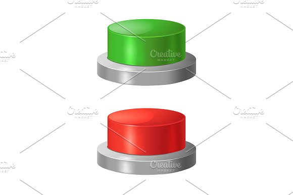 Realistic Red And Green Buttons