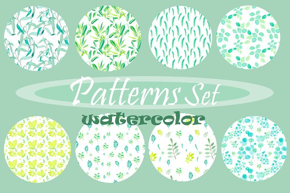 Watercolor Patterns Set