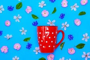 ceramic red mug with white polka dot